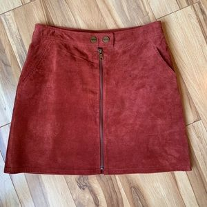 100% Genuine Leather suede skirt